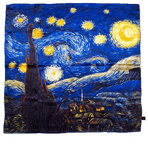 Pañuelo de seda noche estrellada