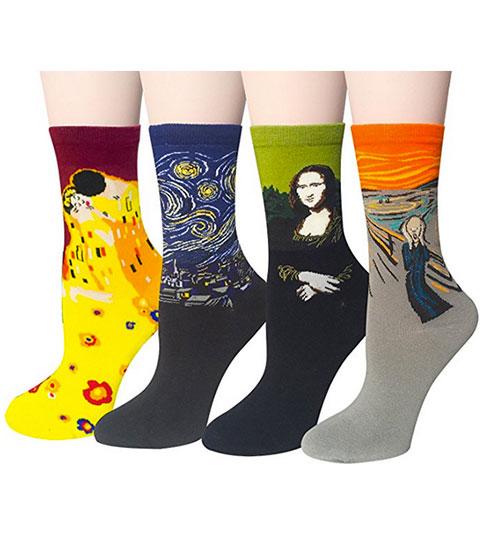 Calcetines de algodon divertidos de obras de arte famosas