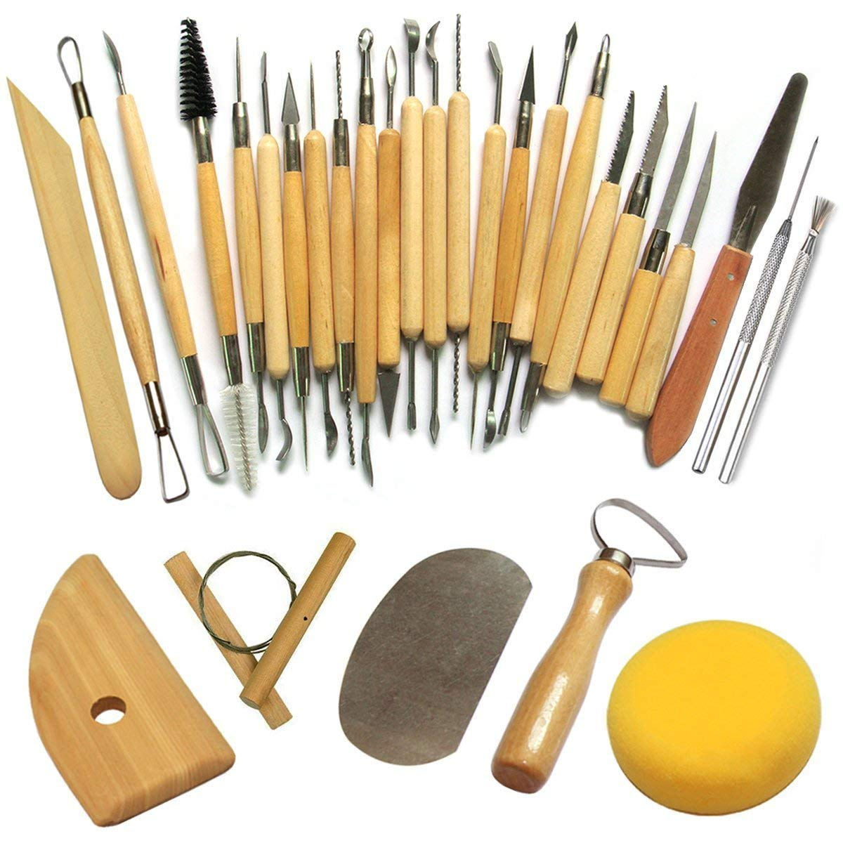 Set 30 Pcs herramientas modelado para escultura, arcilla, cerámica