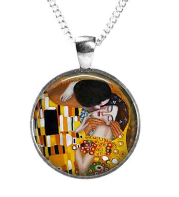 Conjunto, Pendientes Y Colgante El Beso De Klimt