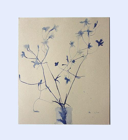 Dibujo a tinta azul flores secas