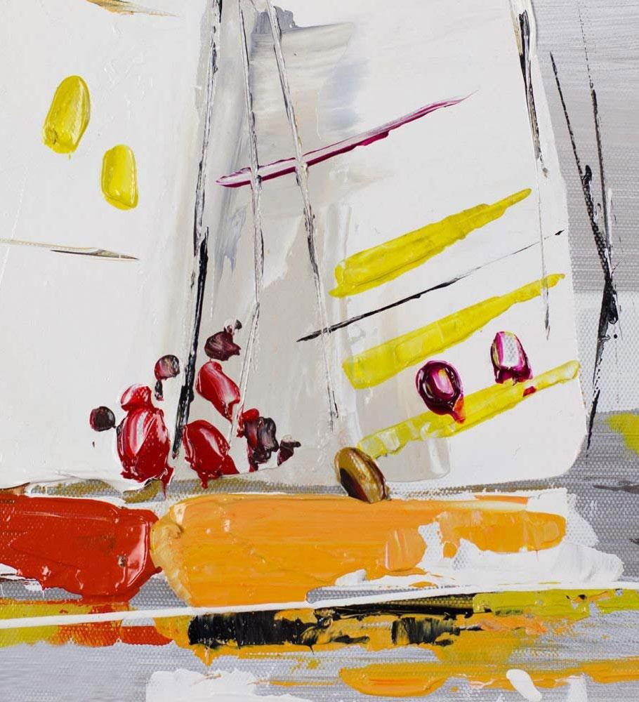 Detalle veleros Por los siete mares pintura