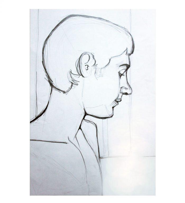 Retrato de hombre, lápiz sobre papel