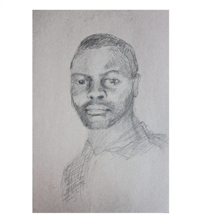 Retrato de hombre, lápiz sobre papel de estraza