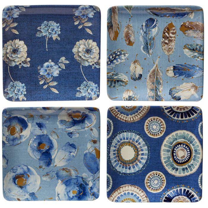 Platos para canapes en tonos azules pintados a mano