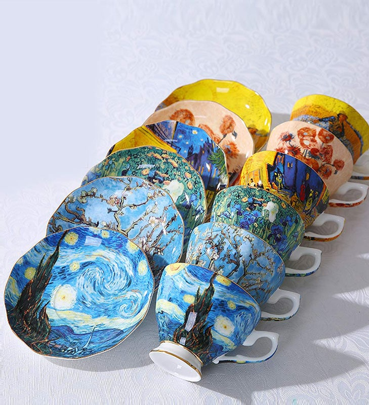 Juego de tazas de café con pinturas famosas de Van Gogh
