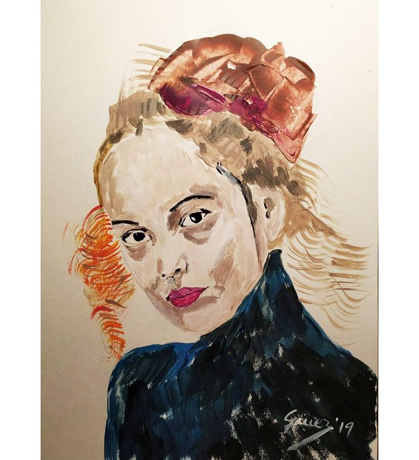 Retrato de mujer con tirabuzones