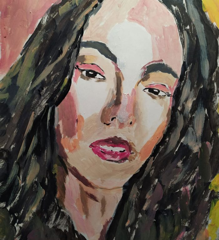 Retrato de mujer morena pintado en acrílico