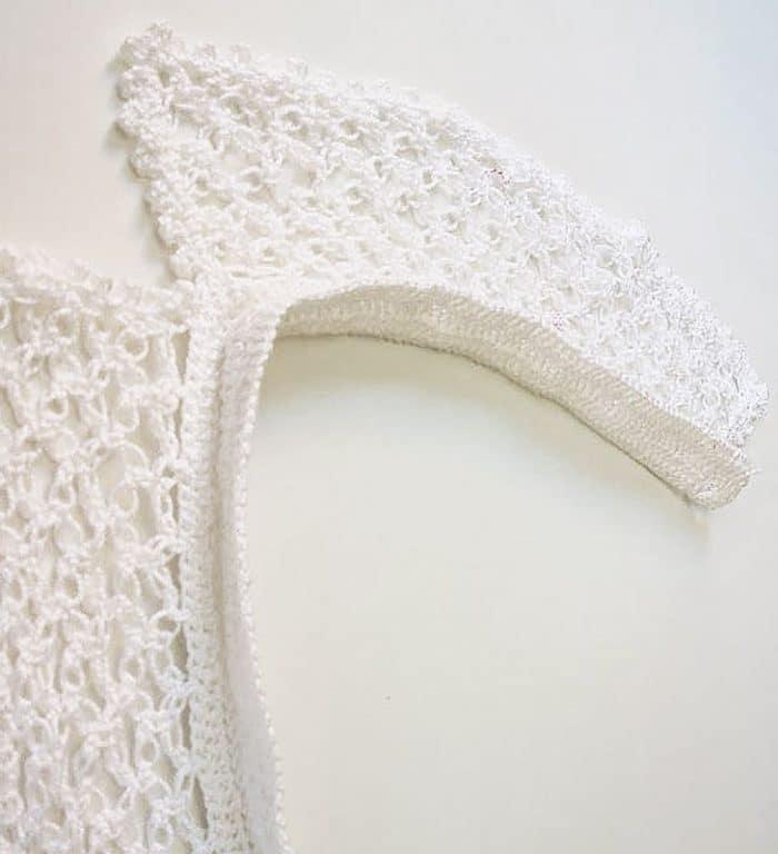 Cuello blanco de crochet hecho a mano, pieza única