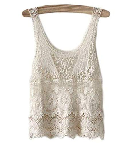 Top de crochet blanco sin mangas