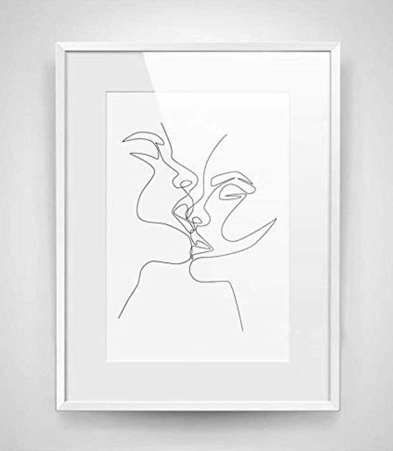 Dibujo de lineas pareja besándose