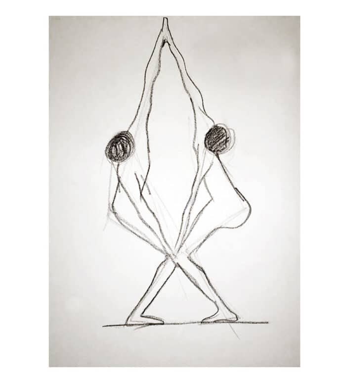"Dibujo a lápiz de figuras humanas ""Dualidad"""