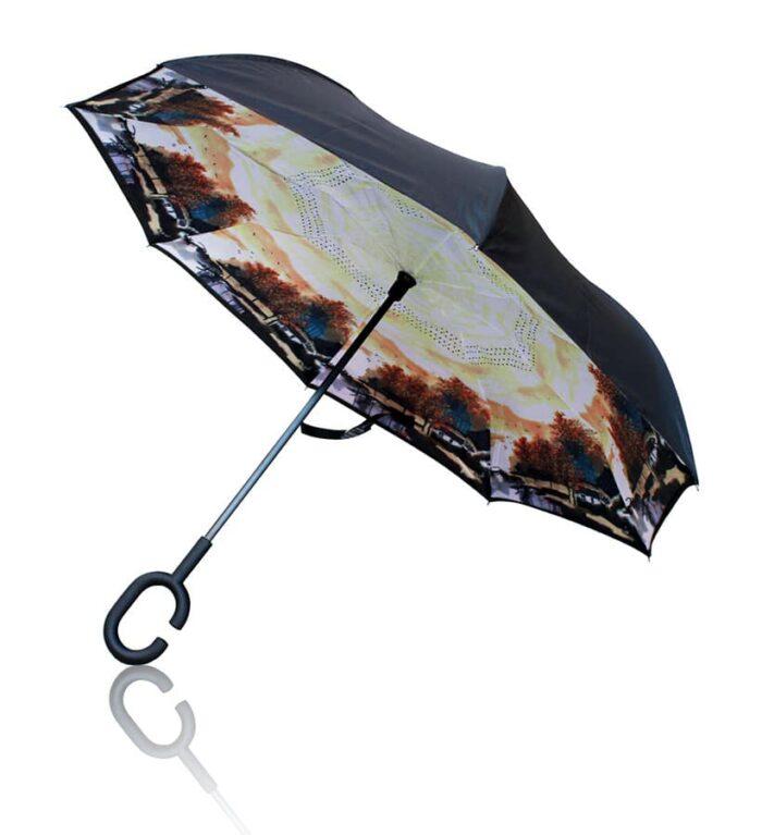 Paraguas reversible antiviento de paisaje con los colores del otoño