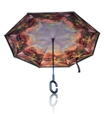 Paraguas Reversible De Pinturas De Paisaje