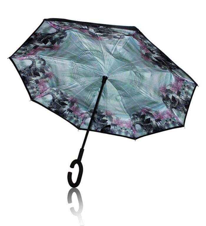 Paraguas antiviento reversible con paisaje de cerezos en flor