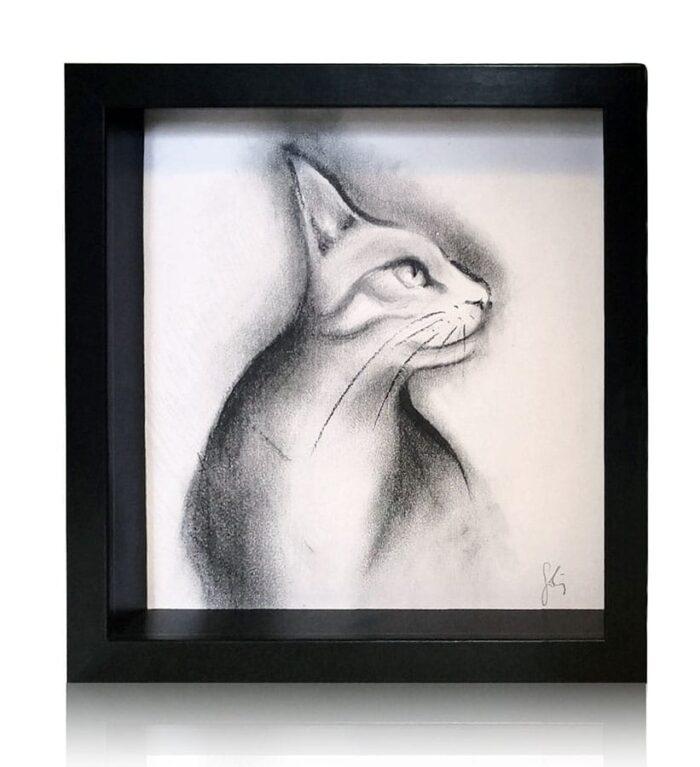 Dibujo de gato de perfil a lápiz y carboncillo sobre papel