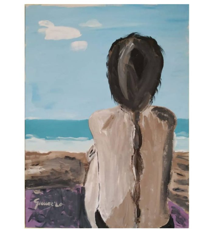 """""""Chica en la playa"""" acrílico sobre lienzo"""