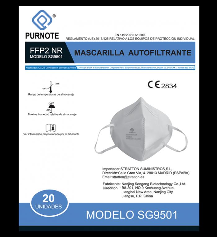 Caja 20 mascarillas FFP2 con marcado CE