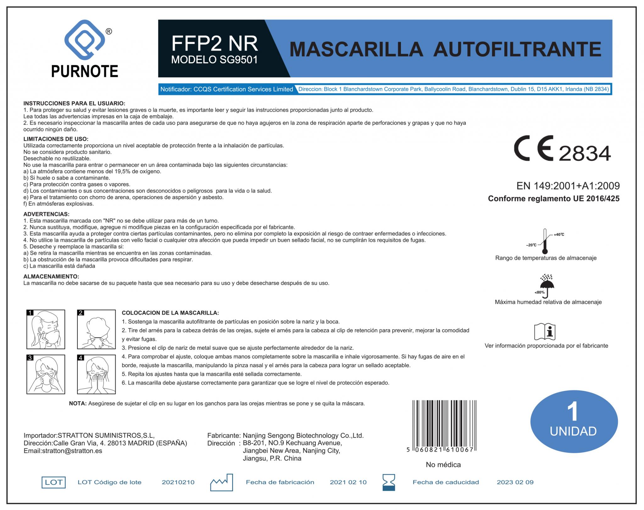 Instrucciones de uso de la mascarilla FFP2 Purnote