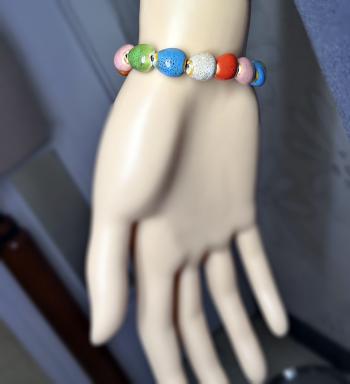 Pulsera De Cerámica Multicolor Con Goma Elástica